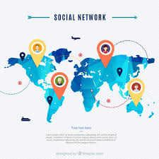 Social Network Map Vector Free Download