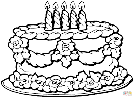 Small Picture Big birthday cake coloring page Free Printable Coloring Pages