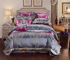 blue golden luxury silk jacquard royal bedding sets queen king size duvet cover egyptian cotton embroidered flat bed sheet 36 kids sports bedding pink duvet