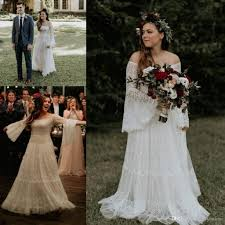 Wedding Dress Plus Size Chart 2019 A Line Lace Bohemian Wedding Dresses Western Country Garden Forest Off Shoulder Long Sleeve Bridal Gowns Plus Size
