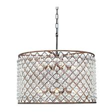 drum and crystal chandelier collection of 3 light with white shade chrome