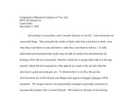 Example Of Rhetorical Analysis Essays Rhetorical Analysis Essay About An Advertisement