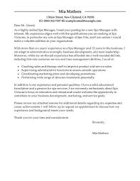 Spa Manager Cover Letter Sales Manager Cover Letter Resume Cv