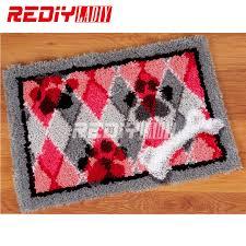 hot latch hook rug kits diy needlework unfinished crocheting rug yarn cushion mat dog and bone