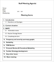 Staff Meeting Agenda Sample Simple Template Doc Antonchan Co