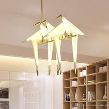led modern pendant lamps american paper crane pendant lights fixture european home indoor lighting restaurant living room 3 5 hanging lamp flush ceiling