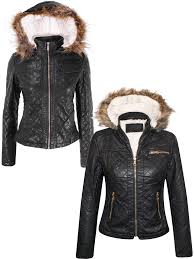 image is loading fleece lined fur hood quilted pu leather padded