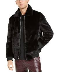 Macys Mens Suit Size Chart Inc Mens Onyx Faux Fur Bomber Jacket Created For Macys