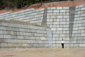 large concrete block retaining walls