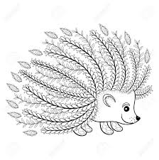 Hand Drawn Artistic Hedgehog For Adult Coloring Page In Doodle ...