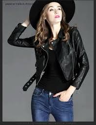 china womens soft pu leather cropped bike motorcycle jacket china slim fit jacket las leather jacket