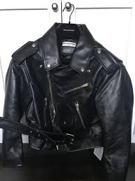 2017 balenciaga black leather swing biker jacket new style on elegant factory