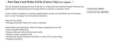 craiglist los angeles really weird job postings part time card writer ad from craigslist los angeles