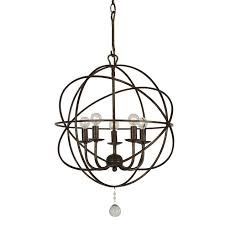 crystorama solaris 5 light english bronze mini chandelier