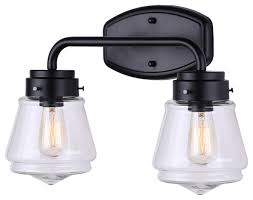 canarm lochlan 2 light vanity light with clear glass matte black finish traditional