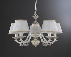 5 lights old white brass chandelier with lamp shades