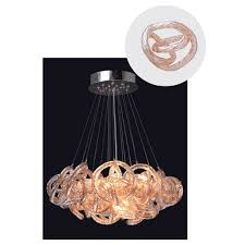 viz art glass infinity chandelier with champagne glass in chrome finish small
