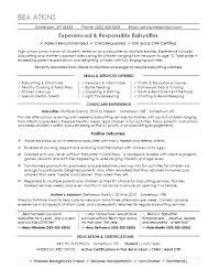 Babysitting Resume Samples Resume For Nanny Babysitter Resume ...