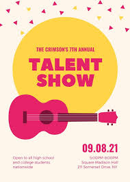 Guitar And Confetti Talent Show Flyer Templates By Canva