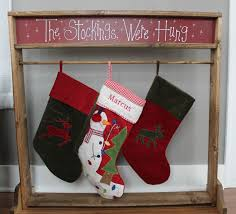 A wooden Christmas Stocking Stand. A great alternative to a mantel.