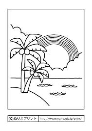 ヤシの木と虹主線黒海夏の季節行事大人の塗り絵ぬりえプリント