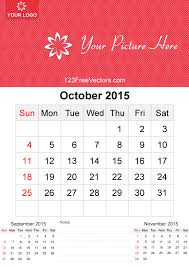 October 2015 Calendar Template Vector Free By 123freevectors On