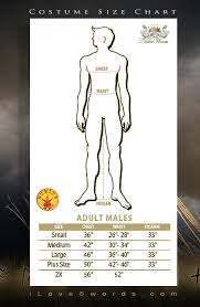Rubies Costume Size Chart For Mens Costumes