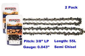 "<b>16 Inch</b> 3/8"" LP Pitch 0.043'' Gauge Semi Chisel <b>Chainsaw</b> Chain 55 ..."