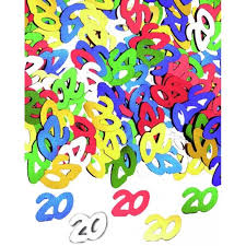 Aptafetes - Confettis de table anniversaire 20 ans multicolores 14 g ...