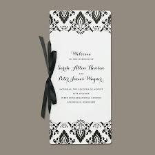 black damask program by brides wedding collection
