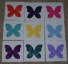 Set of 9 Butterfly Applique Quilt Blocks, Bright Scrappy Fabrics ... & Image is loading Set-of-9-Butterfly-Applique-Quilt-Blocks-Bright- Adamdwight.com