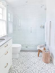 white floor tiles bathroom. Fine White House Tour Modern Eclectic Family Home  Cement Floor Stencil Pinterest  Shower Fixtures White Rooms And Countertop On Floor Tiles Bathroom O