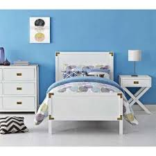 kids bedroom. Miles White Twin Bed Frame With Headboard And Footboard Kids Bedroom