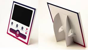 custom print cardboard lcd pop display with back stands for counter display