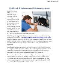 Repairing And Maintenance Best Repair Maintenance Of Refrigerators Ajman
