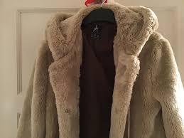 cream fur coat jacket with hood primark size 12