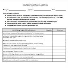 Restaurant Employee Performance Review Restaurant Manager Evaluation Form Performance Evaluation