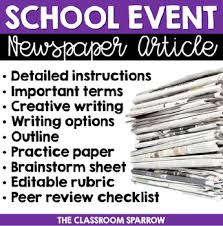 Newspaper Article Template Students School Event Newspaper Article Peer Review Template Editable Rubric