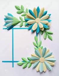 Paper Flower Frame Square Frame With Blue Color Big Paper Flowers Nature Floral