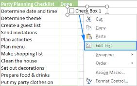 checklist in excel insert checkbox in excel create interactive checklist or to do list