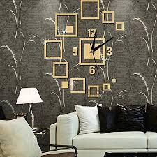 Buy <b>Creative</b> Square <b>Wall</b> Clock Sticker-<b>Gold</b> Online at Jamboshop ...