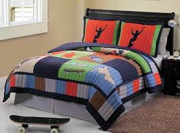 cool skate full or queen 7pc quilt sheets set teen boys concept of twin bedding sets