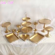 set of gold cake stand wedding cupcake stand set glass dome crystal candy bar decoration cake tools bakeware set uk 2019 from topprettymall