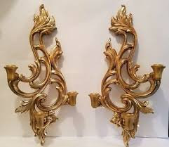 vintage pair of wood french style wall