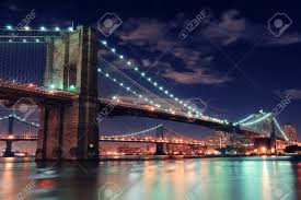Brooklyn Bridge Lights Brooklyn Bridge Over East River At Night In New York City Manhattan