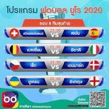 โปรแกรม ตารางแข่ง ผลประกบคู่ พรีวิว ฟุตบอลยูโร 2020 รอบ 8 ทีมสุดท้าย