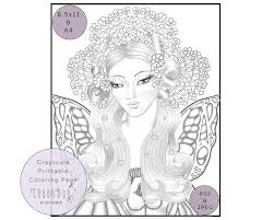 Coloring page of the day. Printable Coloring Page Of A Fairy Queen Grayscale Illustration Of Fairy Queen Chub And Bug Illustration Wall Art And School Supplies For Kids And Babies