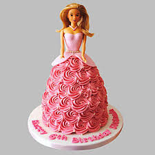 Flamboyant Barbie Cake Vanilla 2kg Gift Barbie Doll Cake For Little