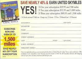 frequent flyer magazine subscriptions promotion up to 1 500 united airlines miles for global traveler