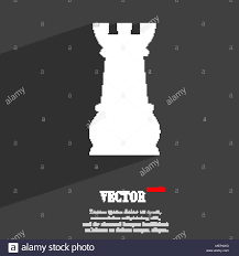 Rook Design Chess Rook Symbol Flat Modern Web Design With Long Shadow